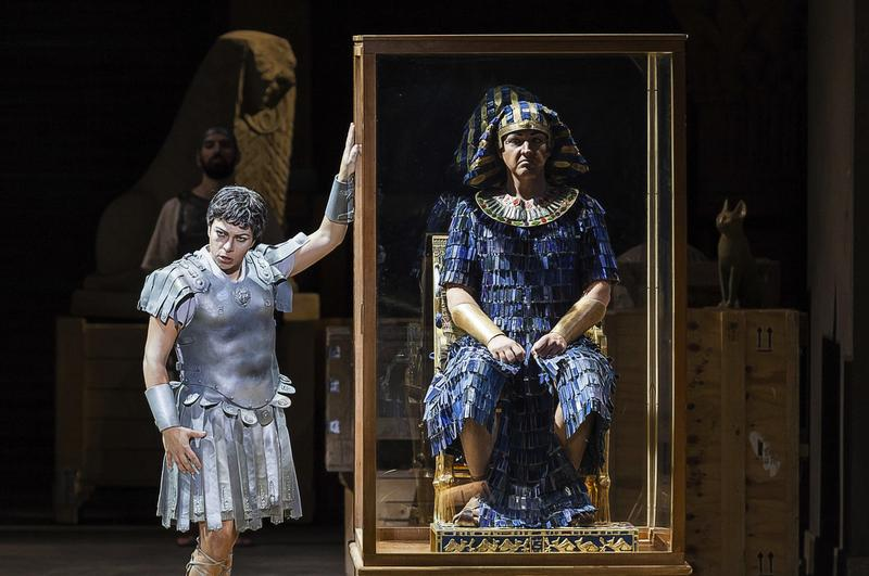 Sonia Prina as Julius Caesar and Jud Perry as Tolomeo in Handel's 'Julius Caesar in Egypt' from the Royal Theater in Turin, Italy.