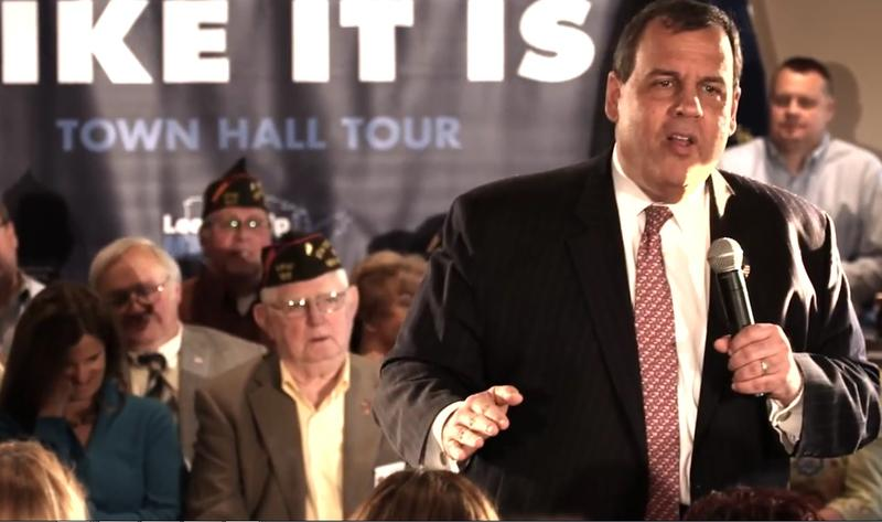 Still from 'Telling It Like It Is' video on Governor Chris Christie's campaign web site.