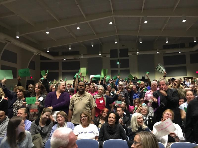 Constituents of Congressman Scott Taylor at a town hall meeting on February 19, 2017 in Virginia Beach, Virginia.