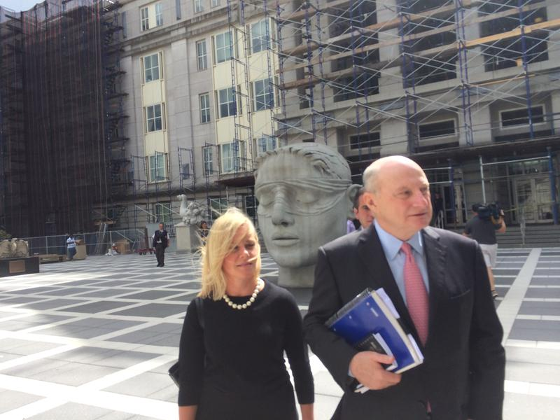Bridgegate defendant Bridget Anne Kelly and her lawyer, Michael Critchley, outside court in Newark last month.
