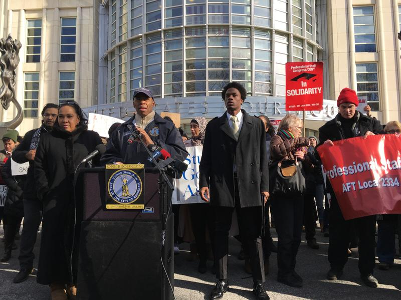 Brooklyn Borough President Eric Adams and CUNY faculty and students spoke out against President Trump's executive order on immigration.