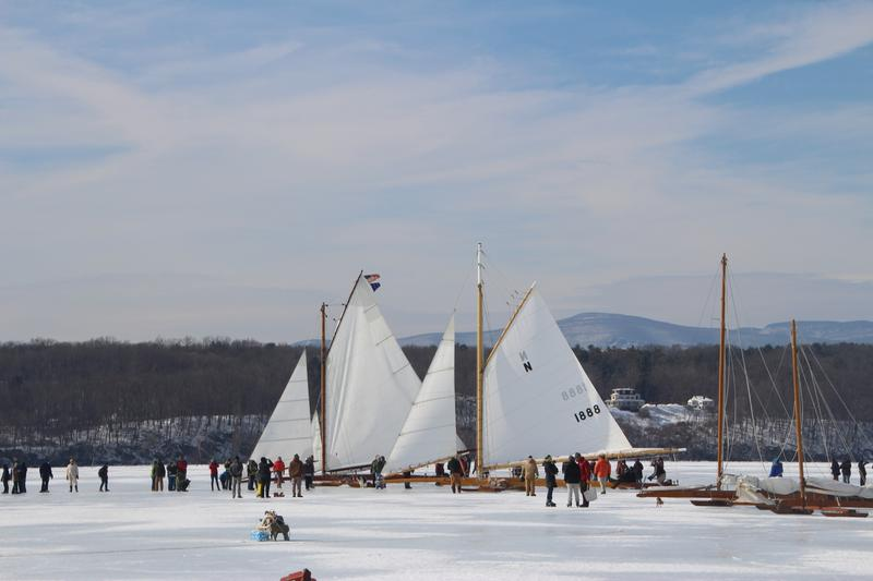 Ice Yachts on the frozen Hudson River