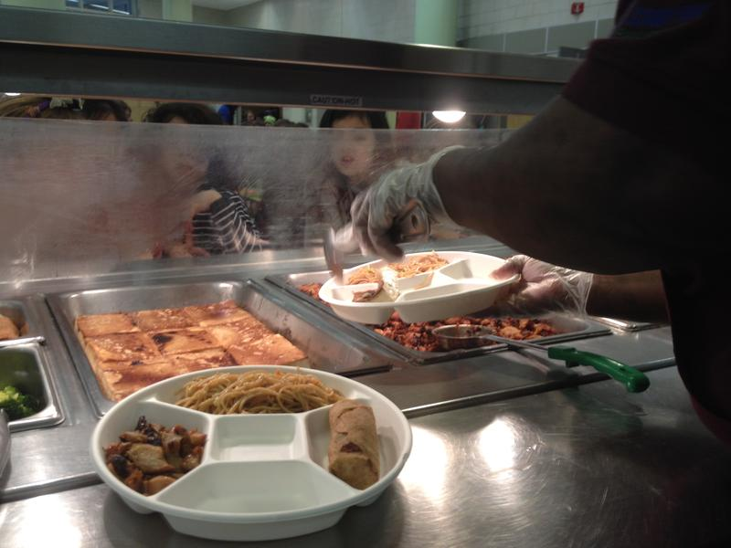 Lunch is served on compostable trays at P.S. 89 in Manhattan.