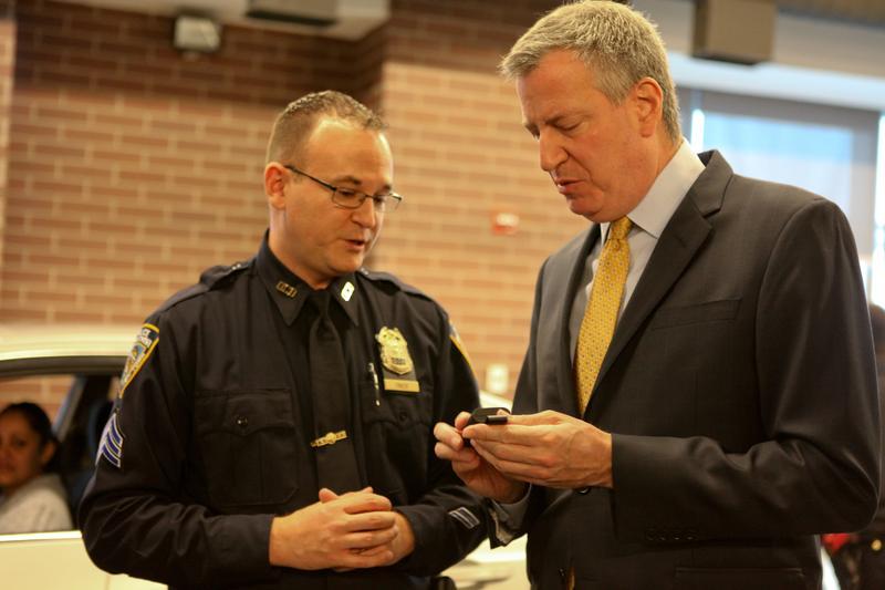 Mayor Bill de Blasio and Police Commissioner Bill Bratton discussing the NYPD's body camera pilot.