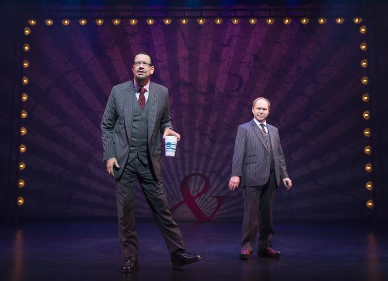 Penn Jillette (left) and Teller in Penn & Teller on Broadway.