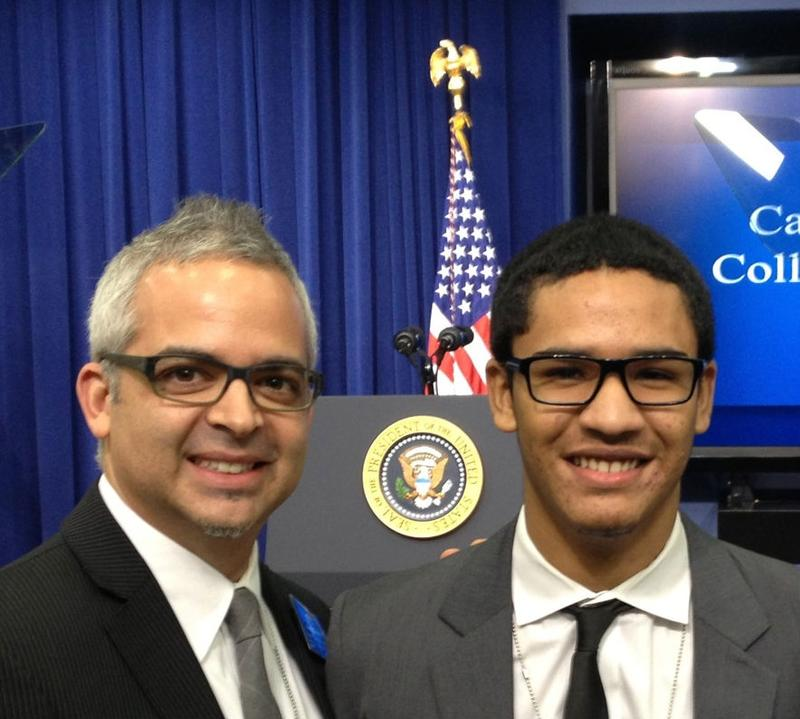 High school senior Estiven Rodriguez, right, and Brett Kimmel, principal of Washington Heights Expeditionary Learning School (WHEELS) at a college opportunity event hosted by the White House.