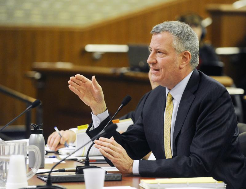 Mayor de Blasio testifies during a joint legislative budget hearing in Albany in January.