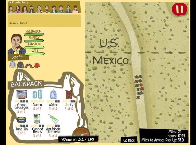 """A screenshot of """"The Migrant Trail,"""" a game by Marco Williams and Gigantic Mechanic that allows you to play as a person attempting to cross the border from Mexico into the U.S."""