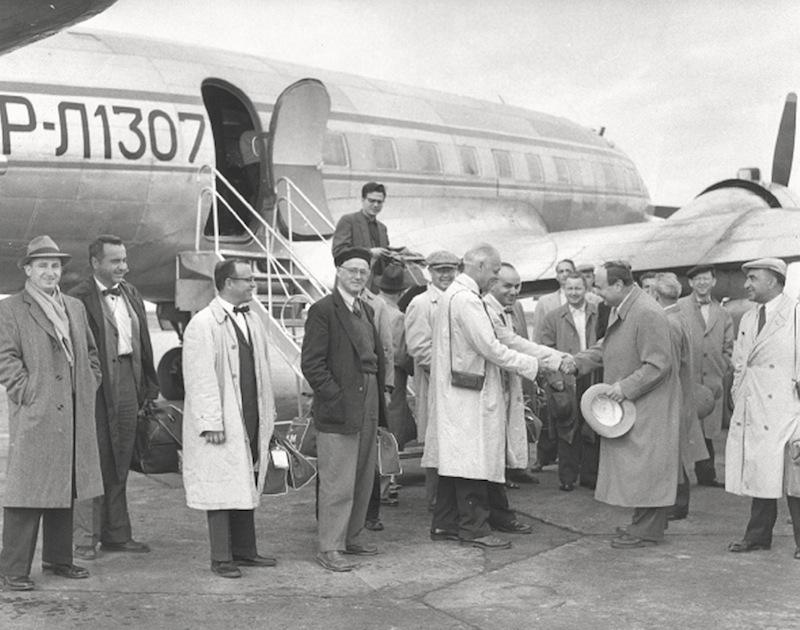 The Boston Symphony is greeted at the airport in Leningrad in September 1956.