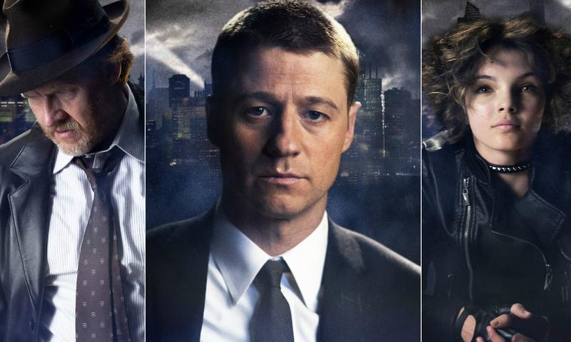 Harvey Bullock (Donal Logue), Jim Gordon (Ben McKenzie), and Selina Kyle (Camren Bicondova) as the future Catwoman