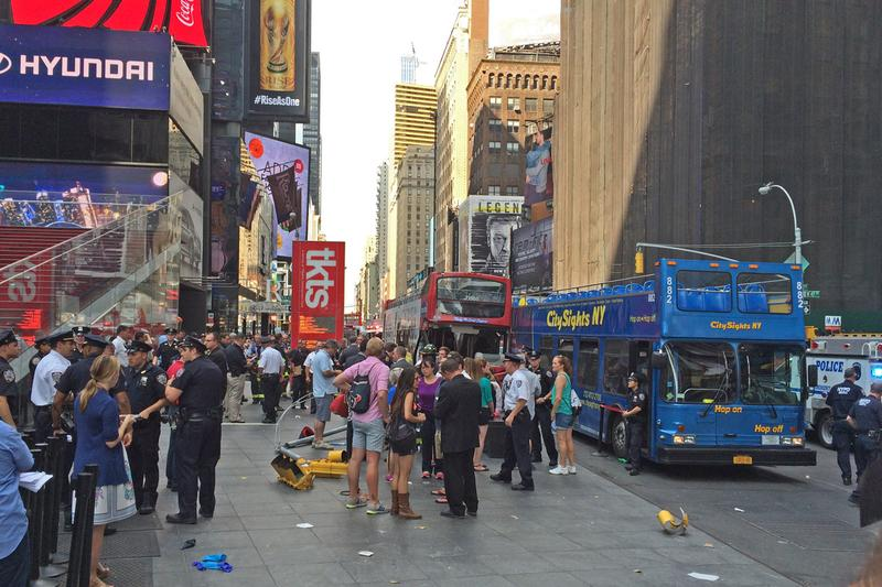 Scene of tour bus crash in at W. 47 St. and 7 Ave