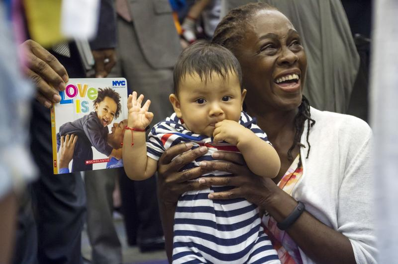 "First Lady Chirlane McCray formally releases her baby book ""Love Is/El Amor Es."" Jackson Heights Library. Wednesday, July 15, 2015."