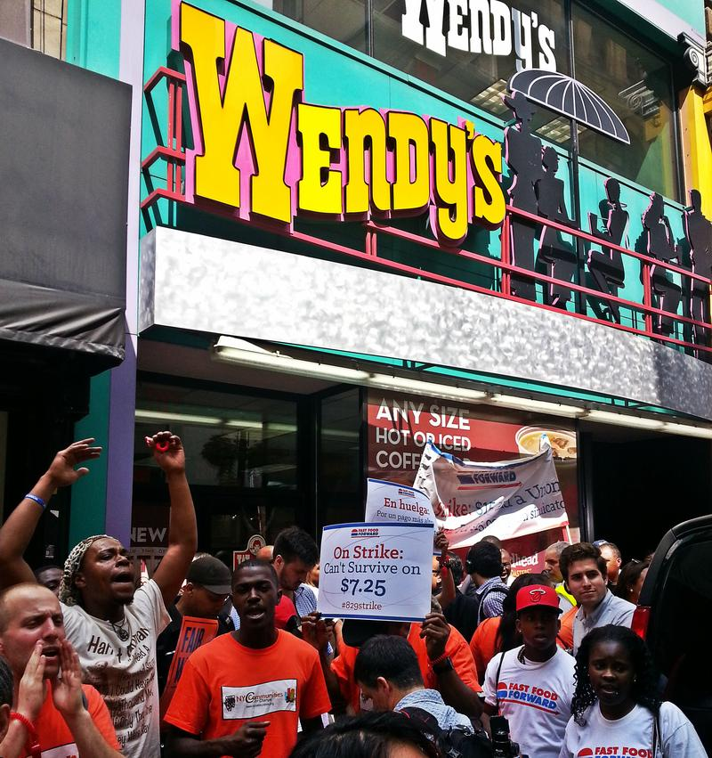 Fast food workers strike on August 29, 2013 for nationwide campaign to increase wages.