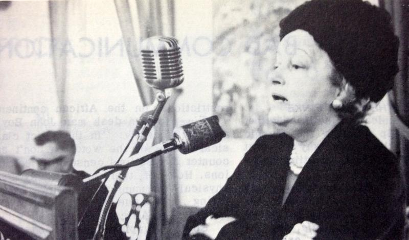 Lady Gaitskell at the Overseas Press Club in 1965.