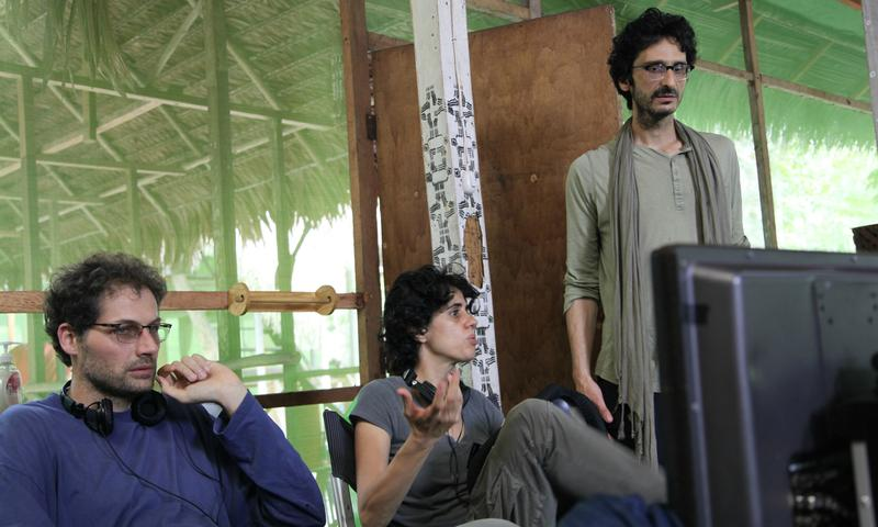 Co-directors Matteo Norzi and Leonor Caraballo, with producer Abou Farman on set in the Peruvian Amazon