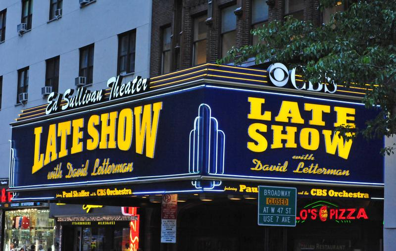 The sign on the Ed Sullivan Theater in Midtown Manhattan where the Late Show with David Letterman is filmed.