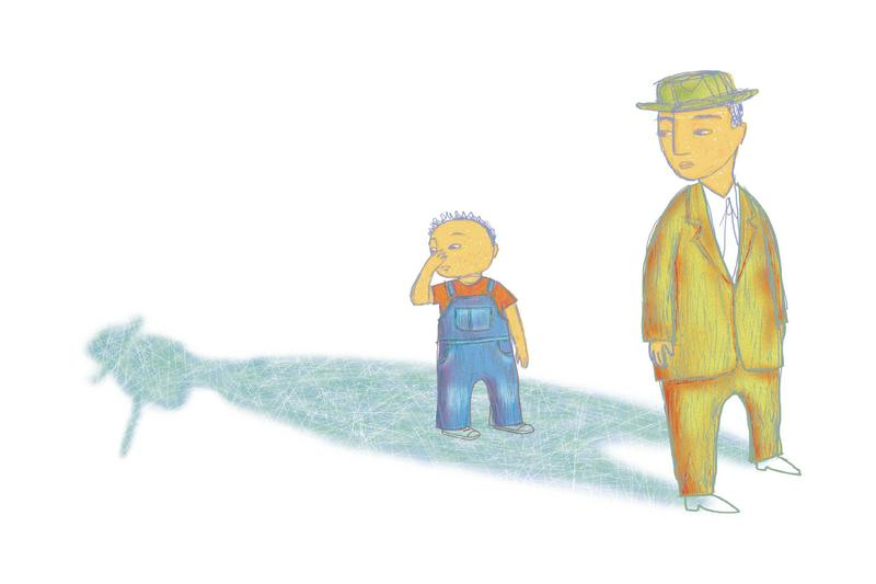 Michelle Kumata's color illustration of a young boy, standing in his father's shadow, and noticing his father's Pinocchio-type nose revealed within the shadow.