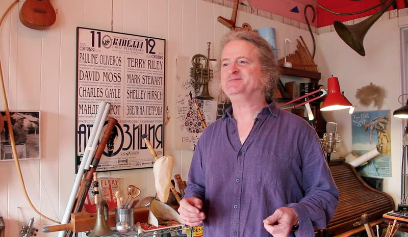 Mark Stewart surrounds himself with instruments — both traditional and handmade — at his home in Park Slope.