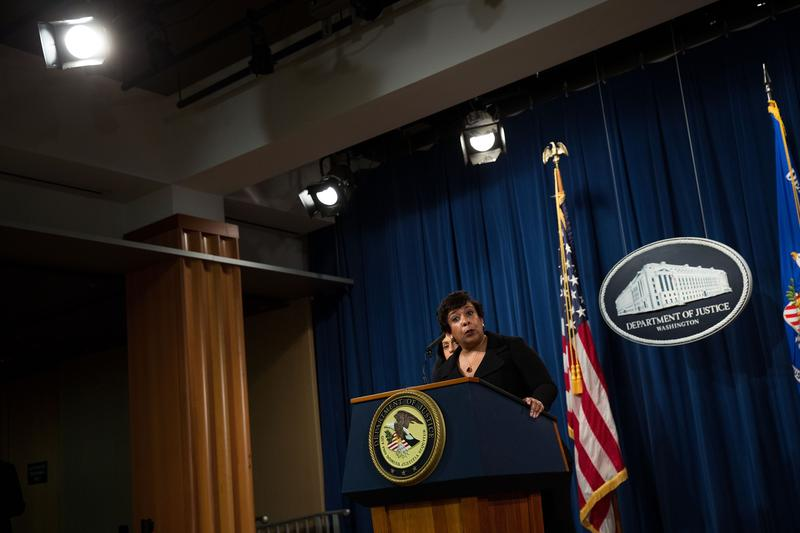 U.S. Attorney General Loretta Lynch announces federal action related to North Carolina, at the U.S. Department of Justice, May 9, 2016, in Washington, DC.