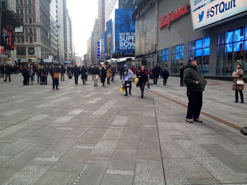 A pedestrian plaza in Times Square