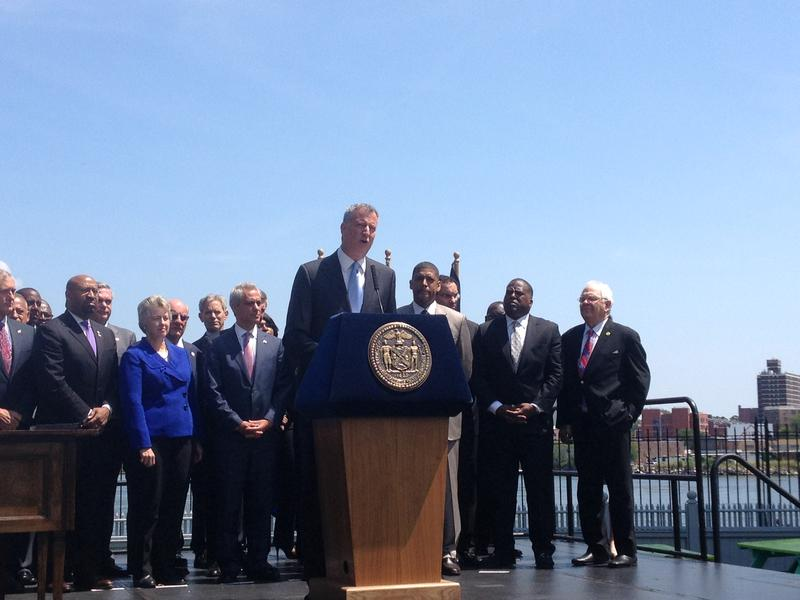 Bill de Blasio and other mayors after the inaugural meeting of the USCM Cities of Opportunity Task Force