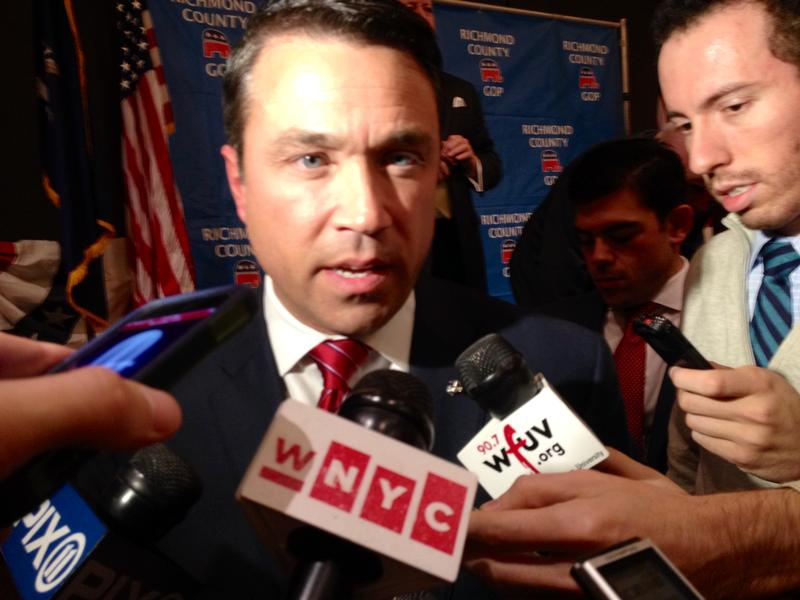 Rep. Michael Grimm talking to reporters on Election night