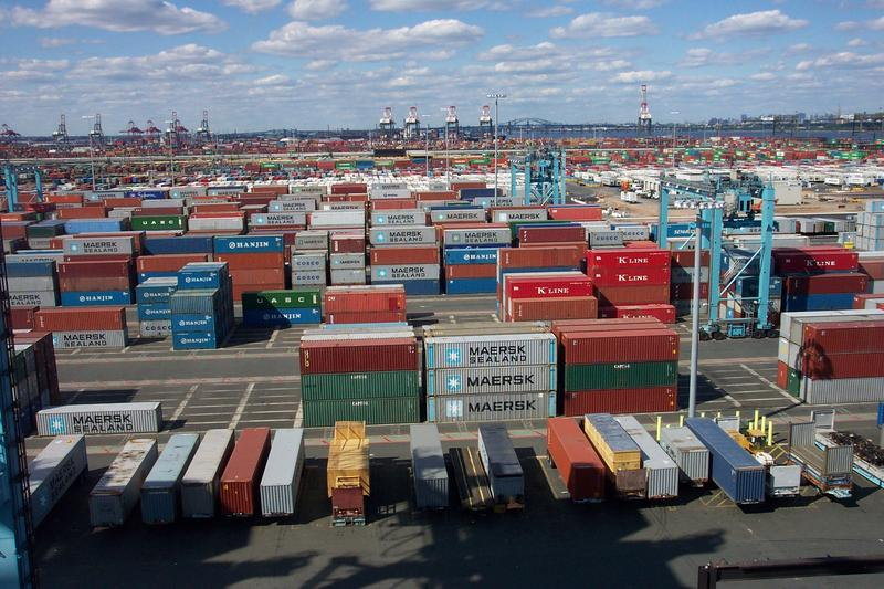 Thousands of shipping containers at the terminal at Port Elizabeth, New Jersey. Port Elizabeth, New Jersey.