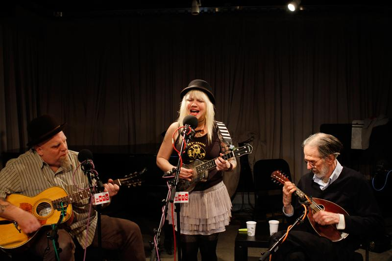 Robert Crumb performs with John Heneghan and Eden Brower of the East River String Band in the Soundcheck studio.