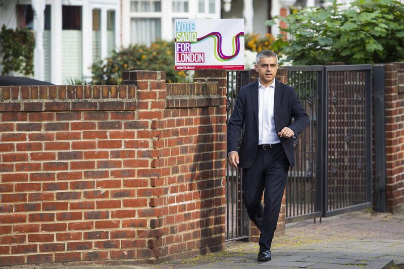London Mayor Sadiq Khan leaves his home in Tooting on May 9, 2016 in London, England. Mr Khan begins his first day at his City Hall office after winning with 56.8% of the vote.