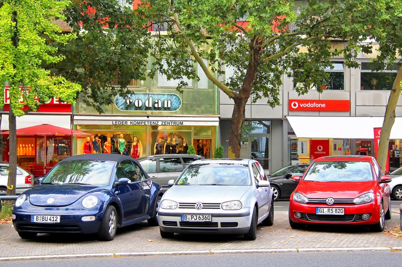 Volkswagen cars parked on the streets of Berlin, Germany on September 12, 2013.