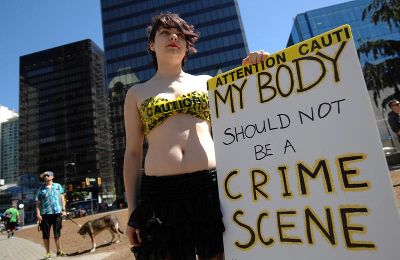 Hundreds of women and men marched the streets of downtown during SlutWalk protest against sexual assault in Vancouver, Canada, on July 7, 2014.