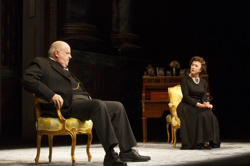 Dakin Matthews as Winston Churchill and Helen Mirren as Queen Elizabeth II in 'The Audience' on Broadway at the Gerald Schoenfeld Theatre.