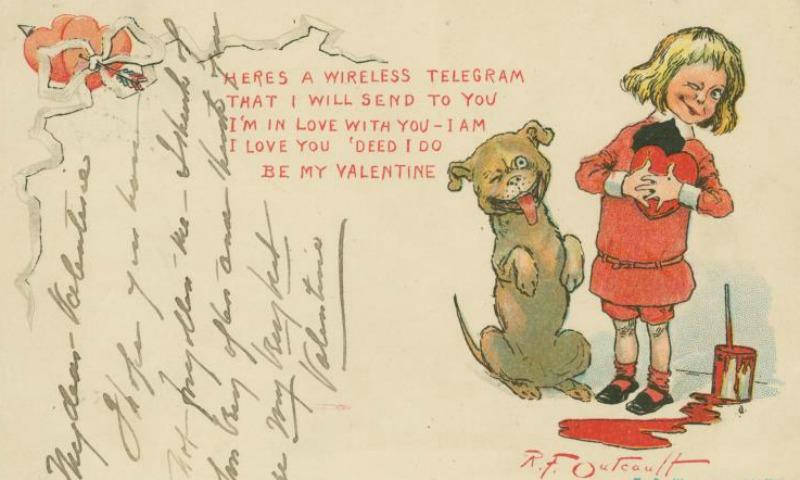A valentine postcard from 1903 featuring a blood-like pool of paint