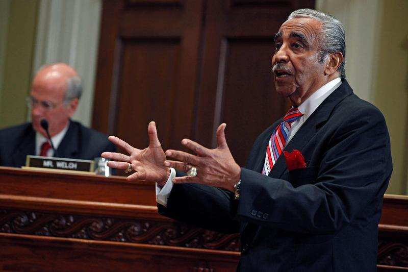 Rep. Charlie Rangel (D-NY) makes an opening statement during his House of Representatives ethics committee hearing before unexpectedly leaving the hearing  November 15, 2010