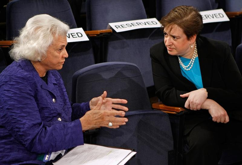 Former U.S. Supreme Court Justice Sandra Day O'Connor talks with U.S. Solicitor General Elena Kagan  at Georgetown University Law Center May 20, 2009, in Washington, D.C.