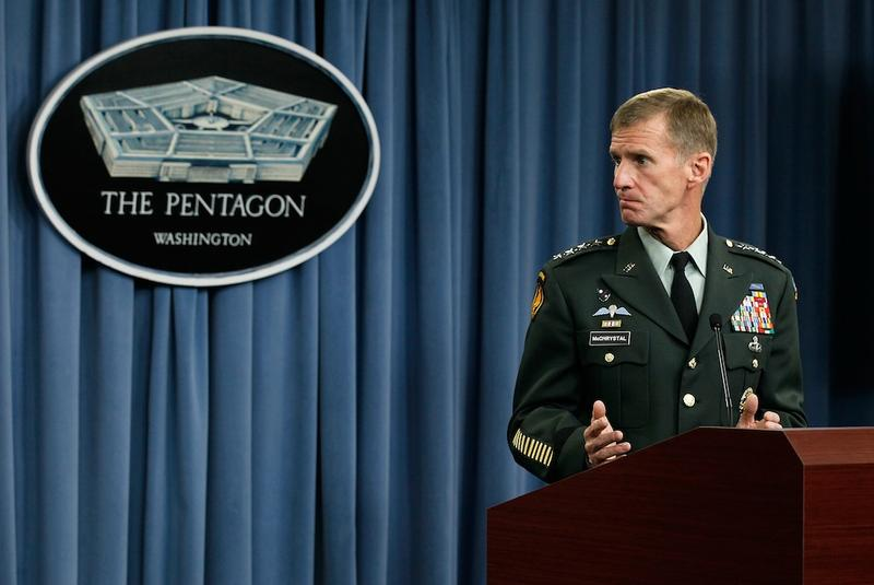 Former Commander of the International Security Assistance Force and Commander of U.S. Forces in Afghanistan, Gen. Stanley McChrystal, speaks during a news briefing at the Pentagon on May 13, 2010.