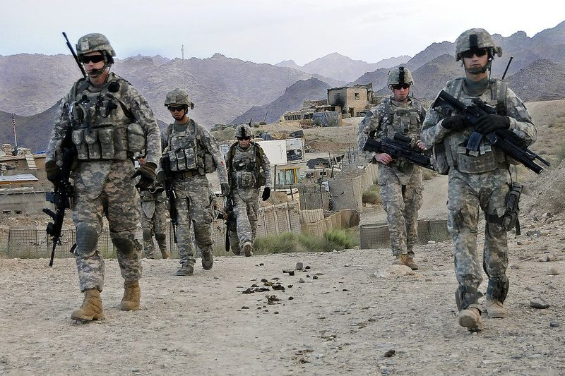 U.S. Soldiers depart Forward Operating Base Baylough, Afghanistan, June 16, 2010, to conduct a patrol.
