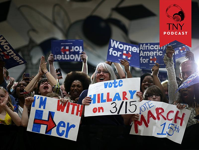 DURHAM, NC - MARCH 10:  Supporters cheer as Democratic presidential candidate, former Secretary of State Hillary Clinton arrives at a campaign event at Hillside High School on March 10, 2016 in Durham