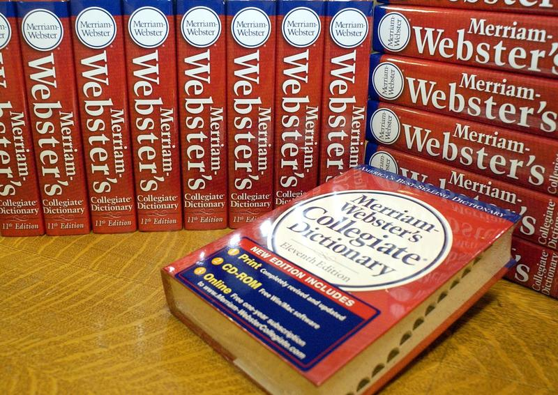 Copies of the eventh edition of the Merriam-Webster's Collegiate Dictionary are seen at the company's headquarters office in Springfield, Mass., June 18, 2003.