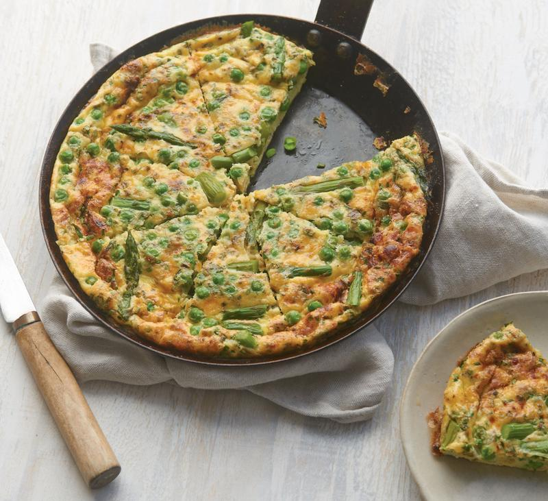 Frittata with Asparagus, Fresh Peas, Tarragon, and Chives from The Simple Art of Vegetarian Cooking
