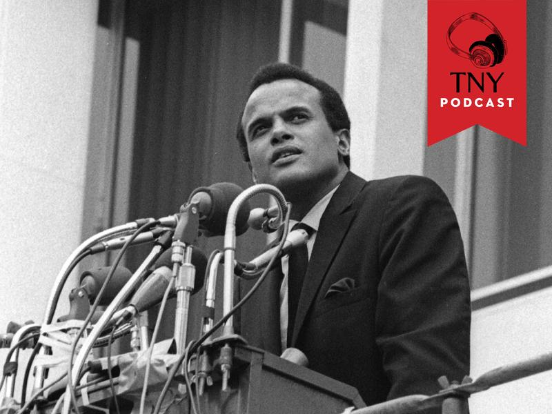 The actor and Civil Rights activist Harry Belafonte addresses the crowd during a rally following the memorial march in tribute for the slain Dr. Martin Luther King, Jr., Memphis, TN, 1968.