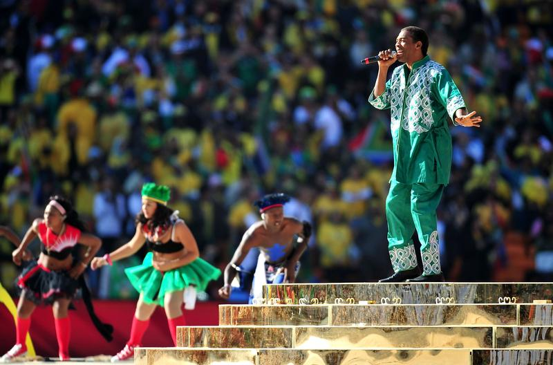 Nigerian singer Femi Kuti performs during the Opening Ceremony ahead of the 2010 FIFA World Cup South Africa Group A match between South Africa and Mexico.