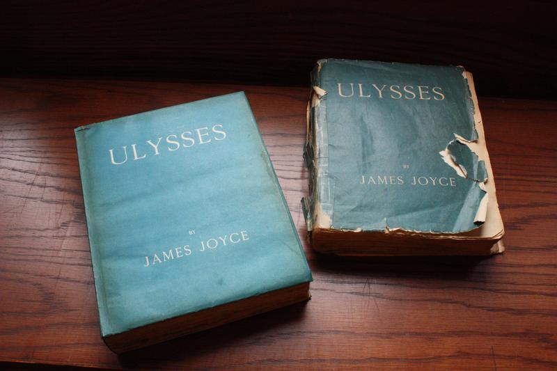The first edition of Ulysses (left), published in Paris in February of 1922 (the Burns copy is no. 773 of 1000). On the right is the first English edition, which was published in October of same year
