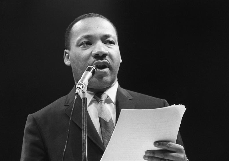 The US clergyman and civil rights leader Martin Luther King addresses, 29 March 1966 in Paris' Sport Palace the militants of the 'Movement for the Peace'.