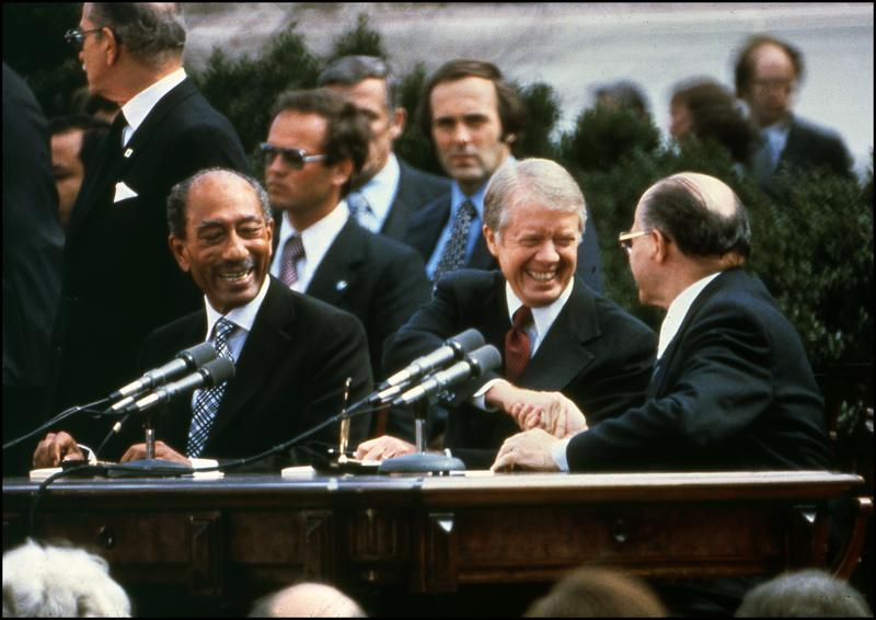 The Camp David Accords were signed by Egyptian President Anwar El Sadat; President Jimmy Carter, and Israeli Prime Minister Menachem Begin, the White House, 17 September, 1978