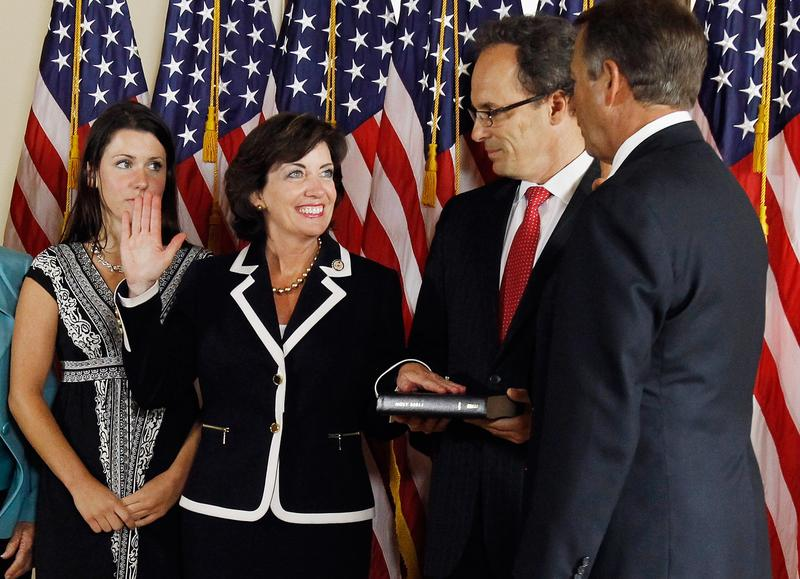Rep. Kathy Hochul (D-NY) participates in a mock swearing-in at the U.S. Capitol June 1, 2011.