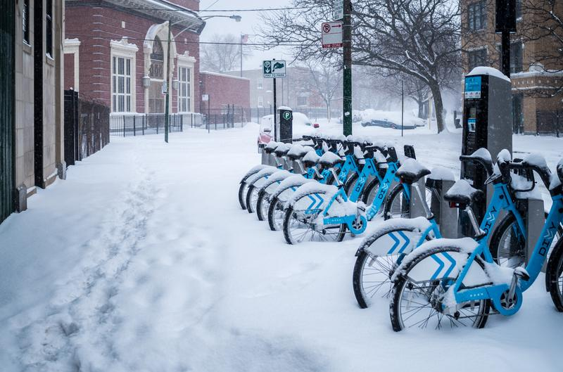 A Divvy bike share station in snowy Chicago
