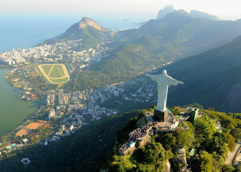 An arial view of the 'Christ the Redeemer' statue on top of Corcovado mountain on July 27, 2011 in Rio de Janeiro, Brazil.