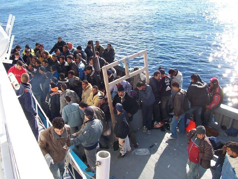 Immigrants at Lampusa, Italy.