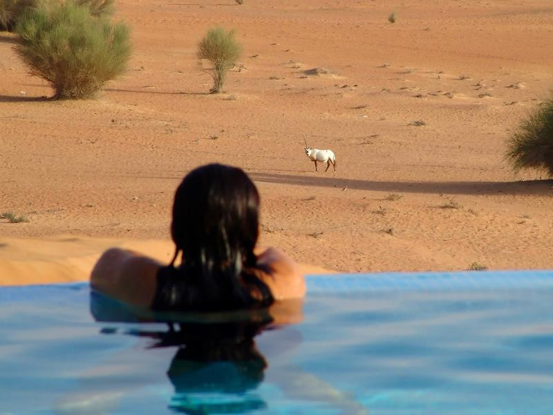 A pool at the Al Maha desert resort in the United Arab Emirates